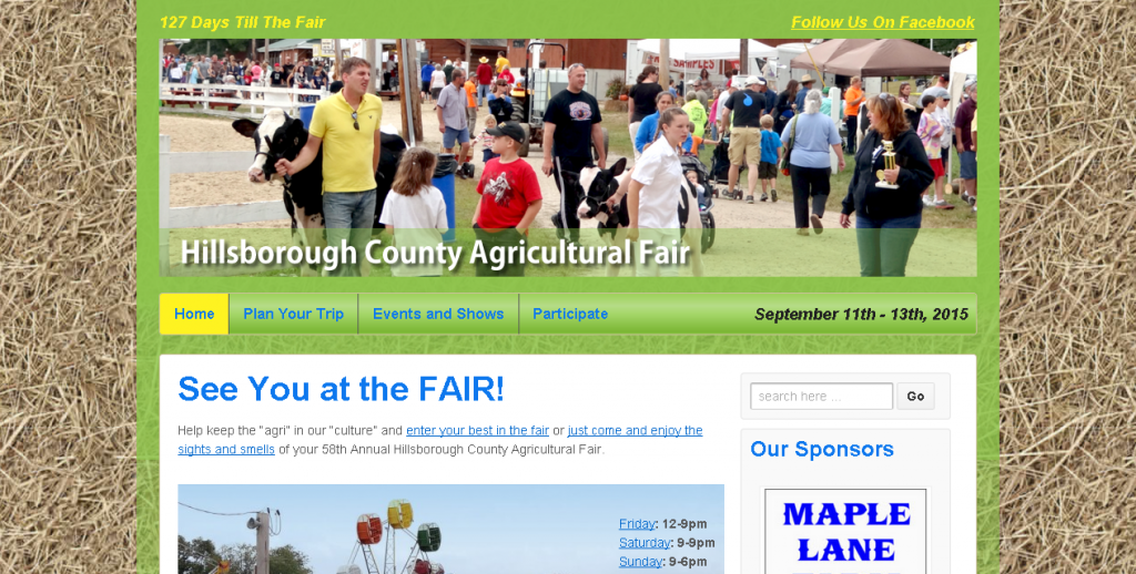 Hillsborough County Agricultural Fair   September 11th – 13th  2015