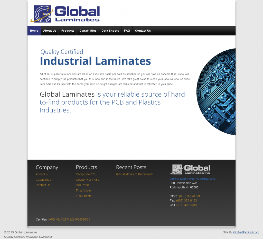 global laminates site desktop display
