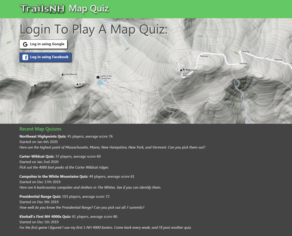 Online Trail Map Quiz